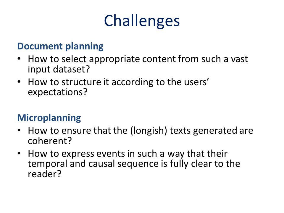 Challenges Document planning