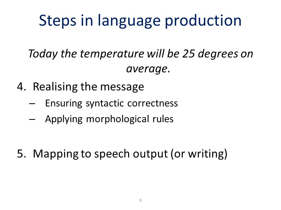 Steps in language production