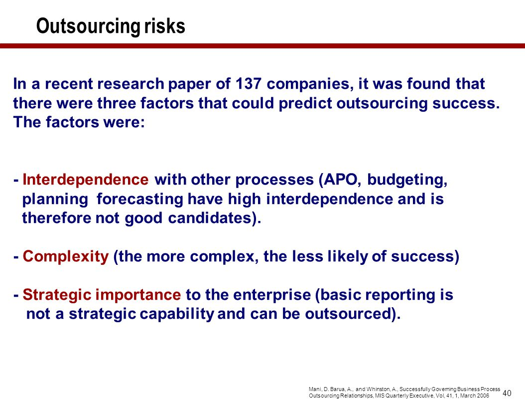 Outsourcing risks