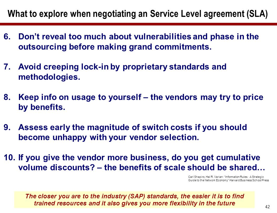 What to explore when negotiating an Service Level agreement (SLA)