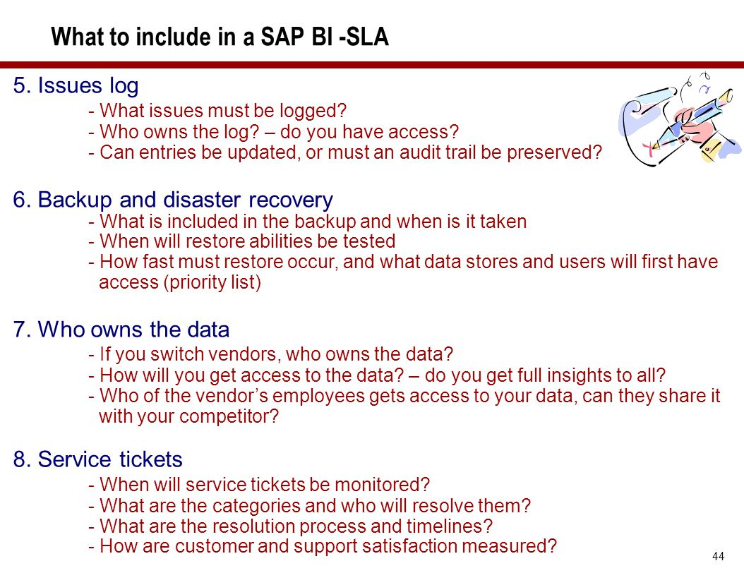 What to include in a SAP BI -SLA