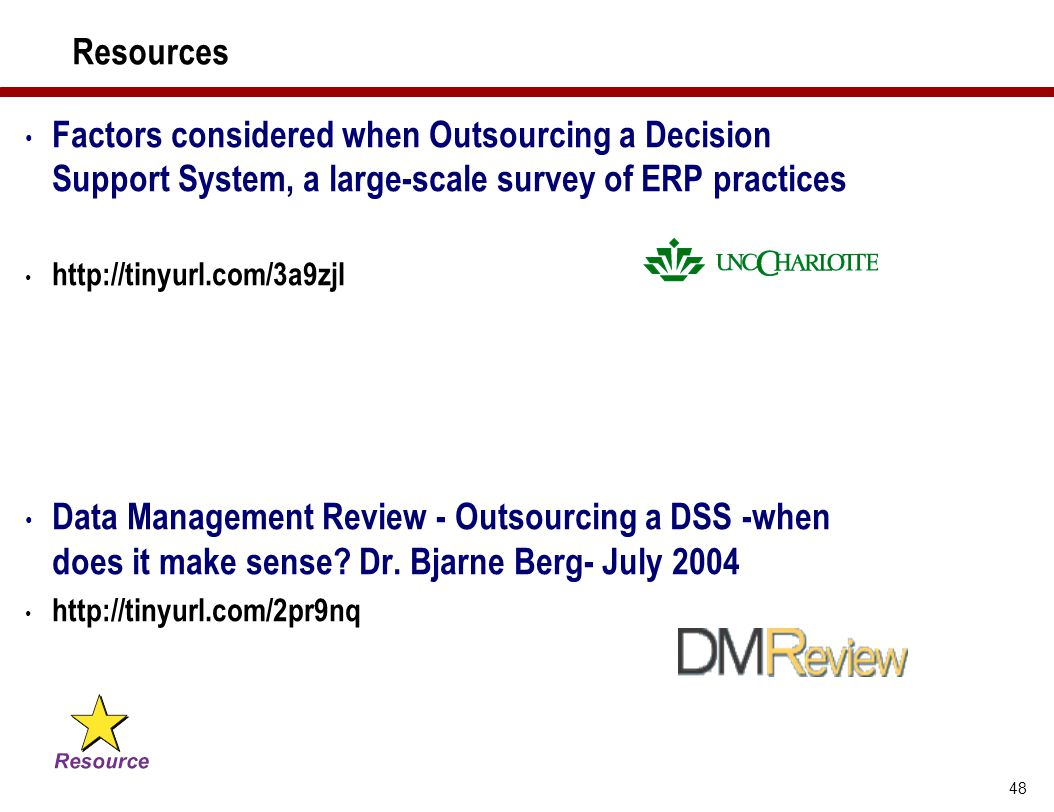 Resources Factors considered when Outsourcing a Decision Support System, a large-scale survey of ERP practices.