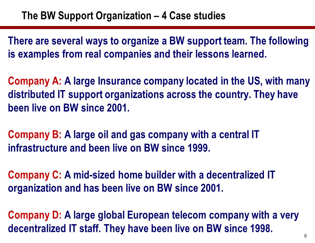 The BW Support Organization – 4 Case studies