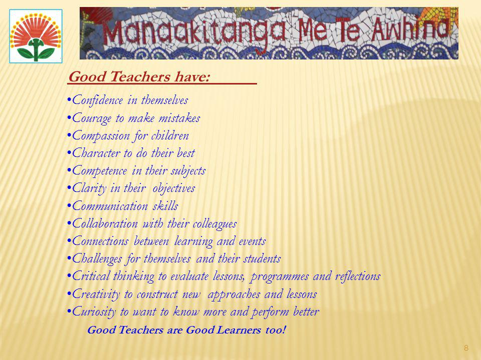 Good Teachers have: Confidence in themselves Courage to make mistakes