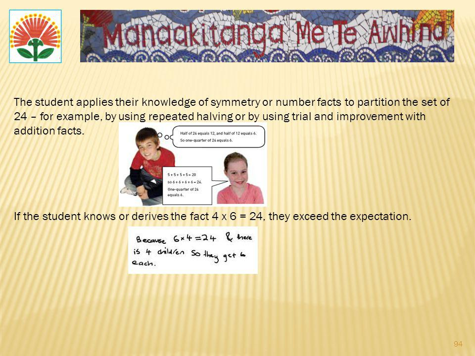 The student applies their knowledge of symmetry or number facts to partition the set of 24 – for example, by using repeated halving or by using trial and improvement with addition facts.