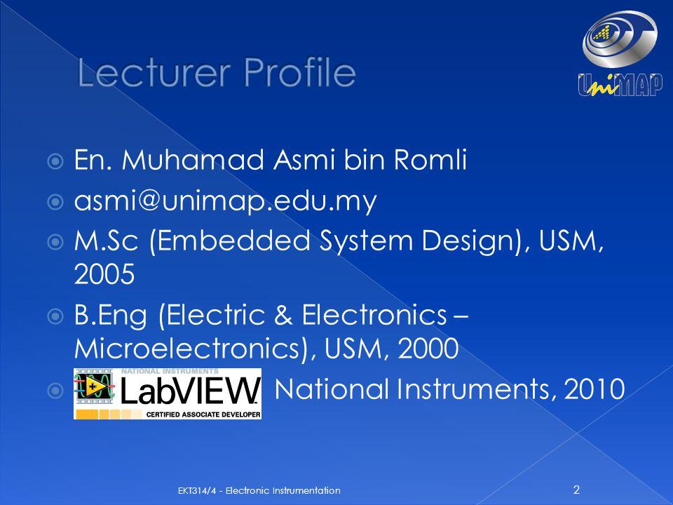 Lecturer Profile En. Muhamad Asmi bin Romli asmi@unimap.edu.my