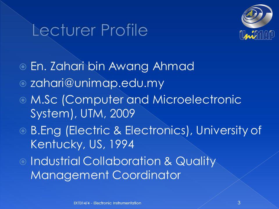 Lecturer Profile En. Zahari bin Awang Ahmad zahari@unimap.edu.my