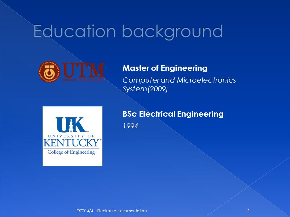 Education background Master of Engineering BSc Electrical Engineering