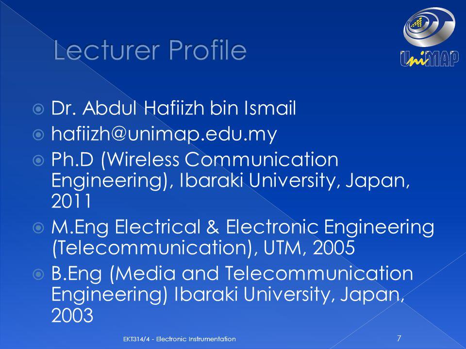 Lecturer Profile Dr. Abdul Hafiizh bin Ismail hafiizh@unimap.edu.my