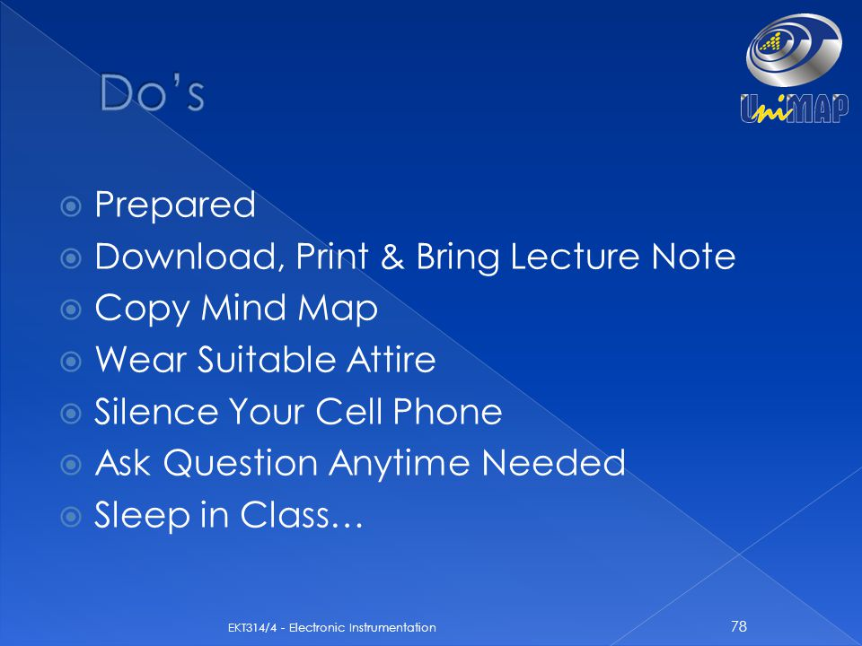 Do's Prepared Download, Print & Bring Lecture Note Copy Mind Map