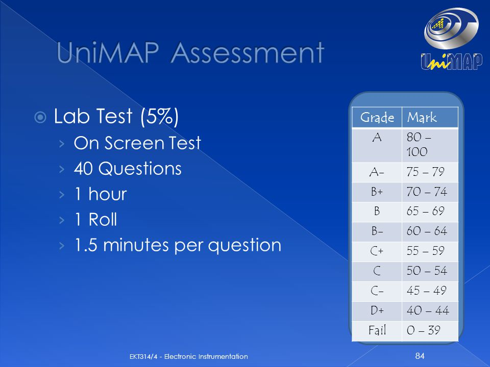 UniMAP Assessment Lab Test (5%) On Screen Test 40 Questions 1 hour