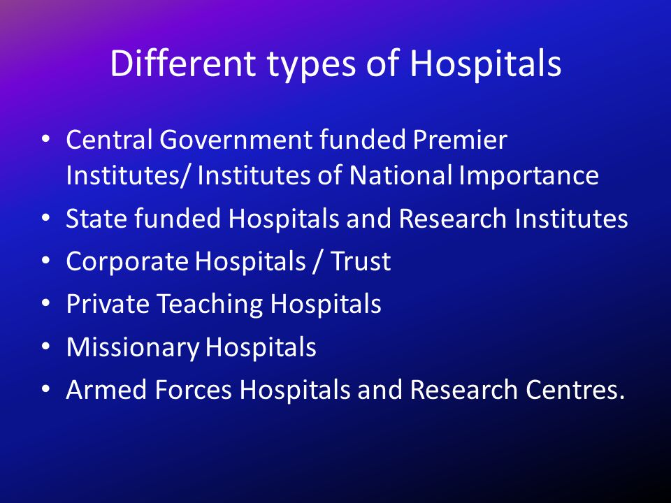 Different types of Hospitals