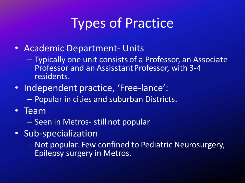 Types of Practice Academic Department- Units