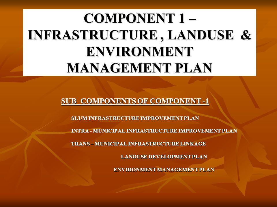 COMPONENT 1 – INFRASTRUCTURE , LANDUSE & ENVIRONMENT MANAGEMENT PLAN