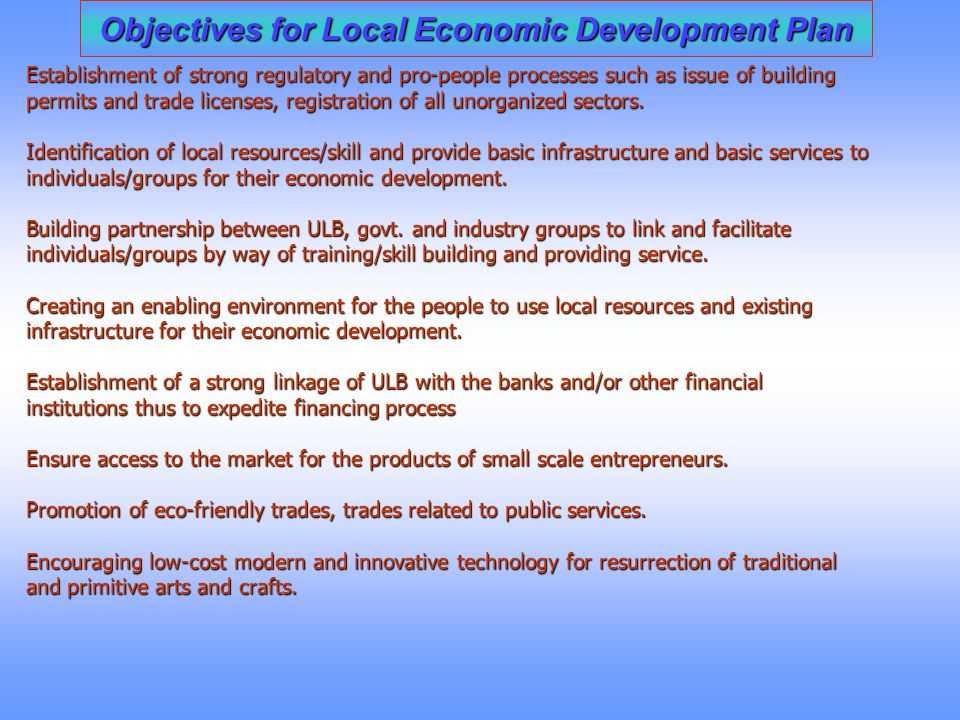 Objectives for Local Economic Development Plan
