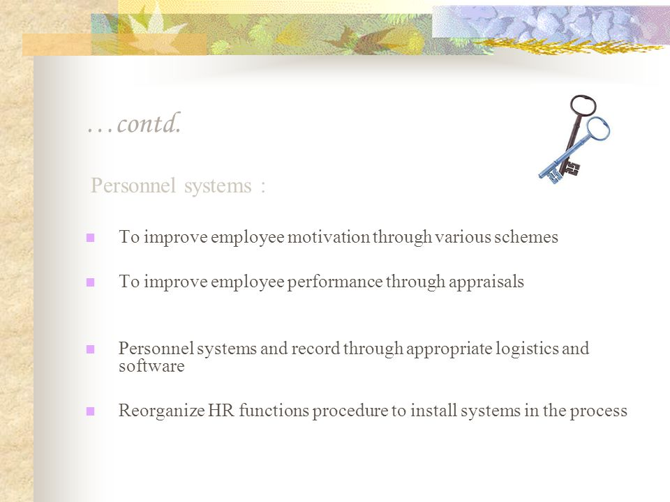 …contd. Personnel systems :