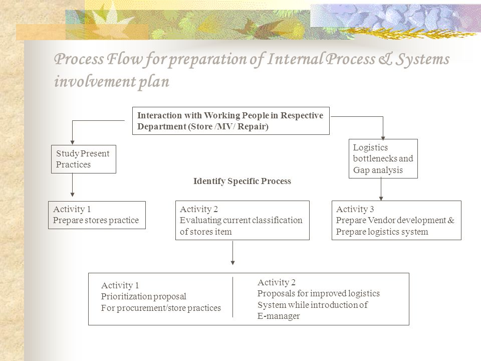 Process Flow for preparation of Internal Process & Systems involvement plan