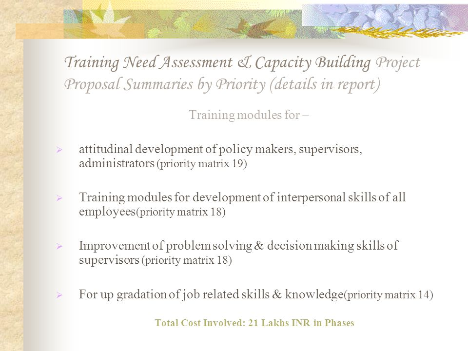 Training Need Assessment & Capacity Building Project Proposal Summaries by Priority (details in report)