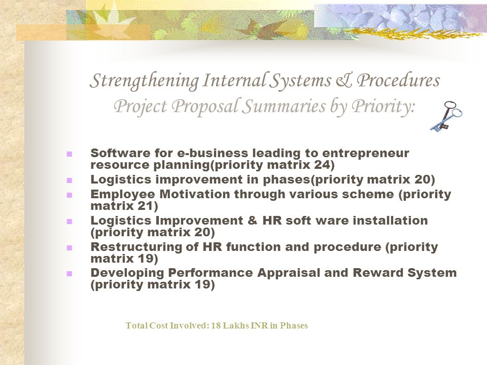Strengthening Internal Systems & Procedures Project Proposal Summaries by Priority: