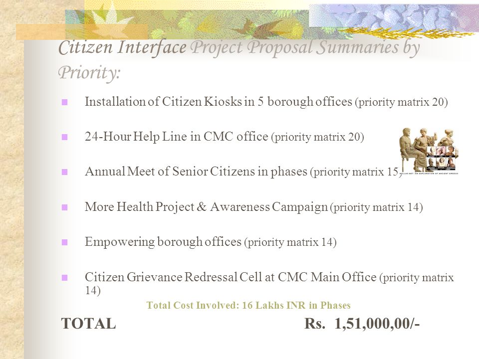 Citizen Interface Project Proposal Summaries by Priority: