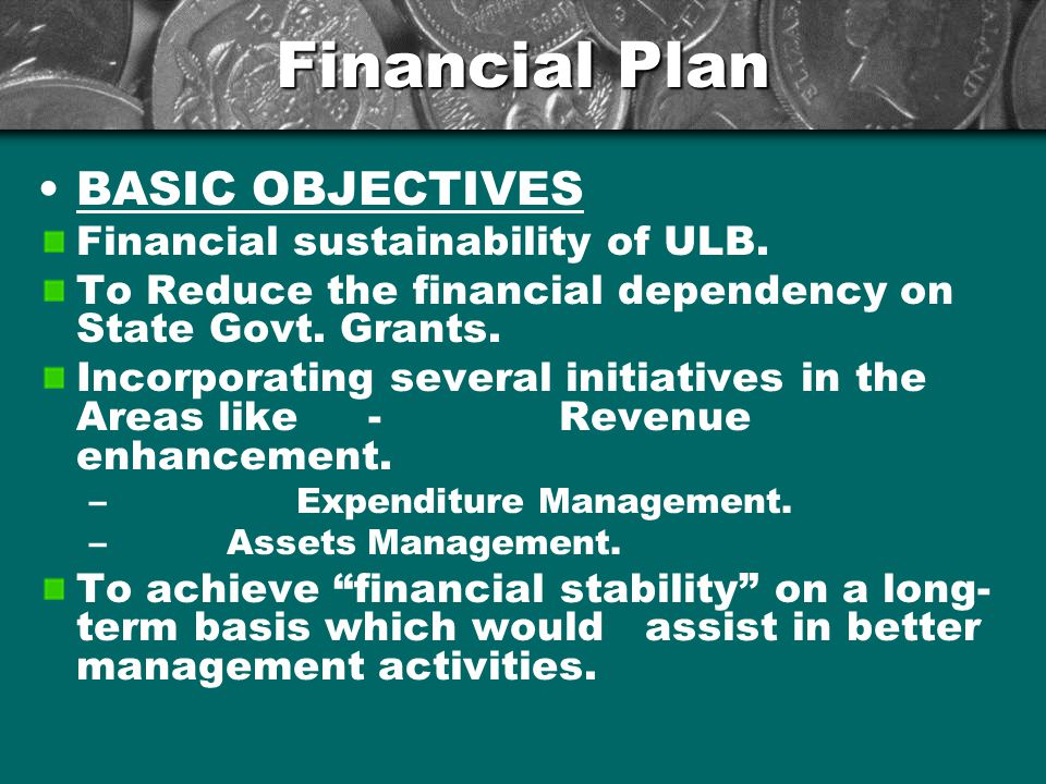Financial Plan BASIC OBJECTIVES Financial sustainability of ULB.