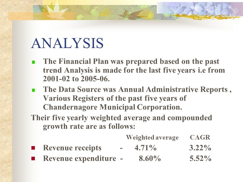 ANALYSIS The Financial Plan was prepared based on the past trend Analysis is made for the last five years i.e from 2001-02 to 2005-06.