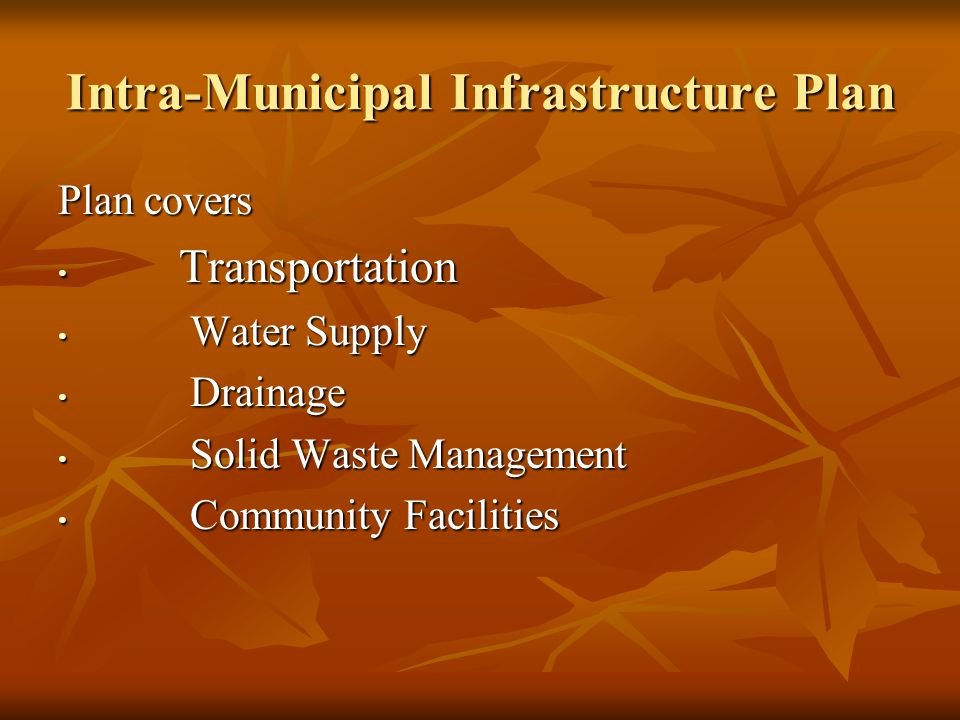 Intra-Municipal Infrastructure Plan