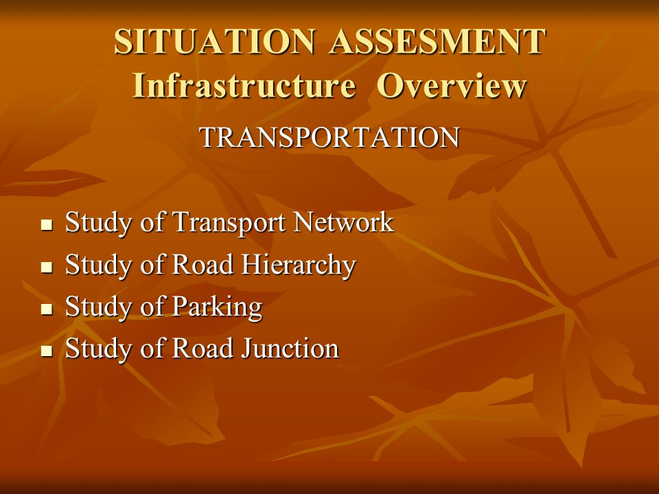 SITUATION ASSESMENT Infrastructure Overview