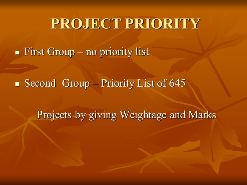 PROJECT PRIORITY First Group – no priority list