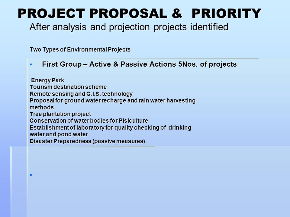 PROJECT PROPOSAL & PRIORITY