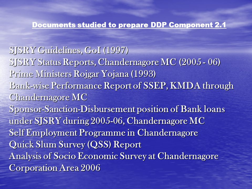 Documents studied to prepare DDP Component 2.1