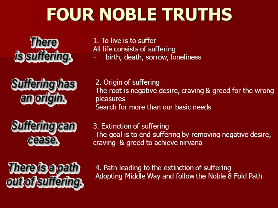 FOUR NOBLE TRUTHS 1. To live is to suffer