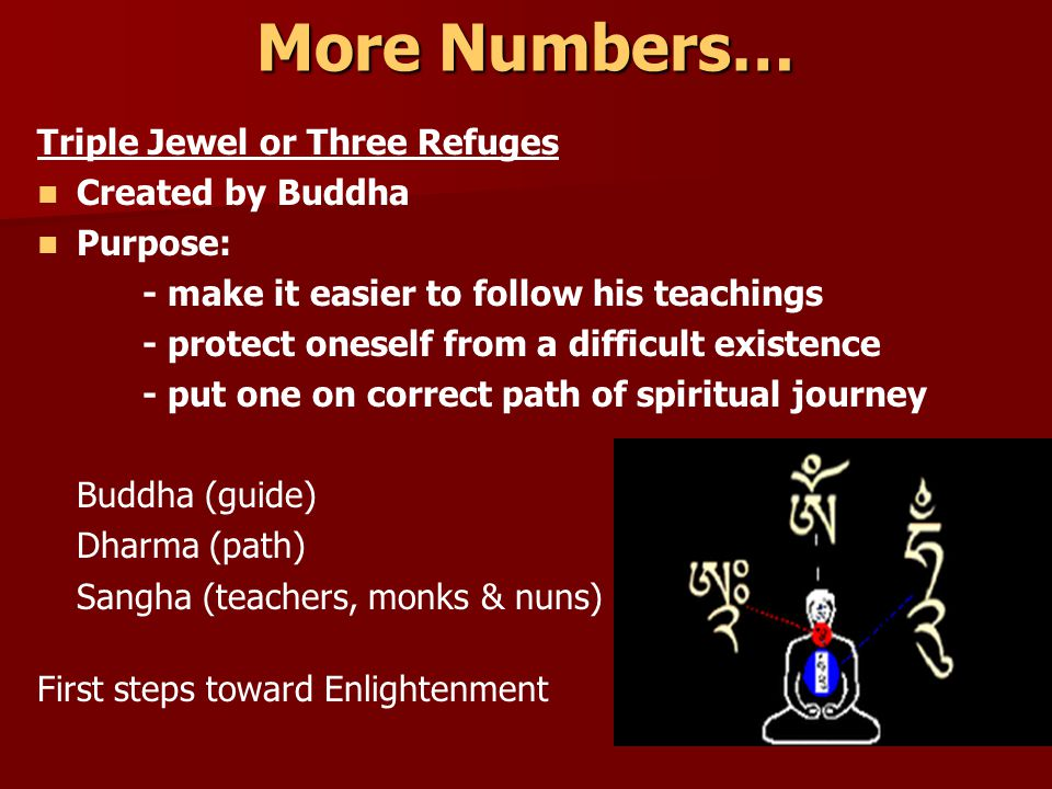 More Numbers… Triple Jewel or Three Refuges Created by Buddha Purpose: