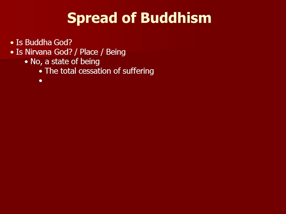 Spread of Buddhism Is Buddha God Is Nirvana God / Place / Being