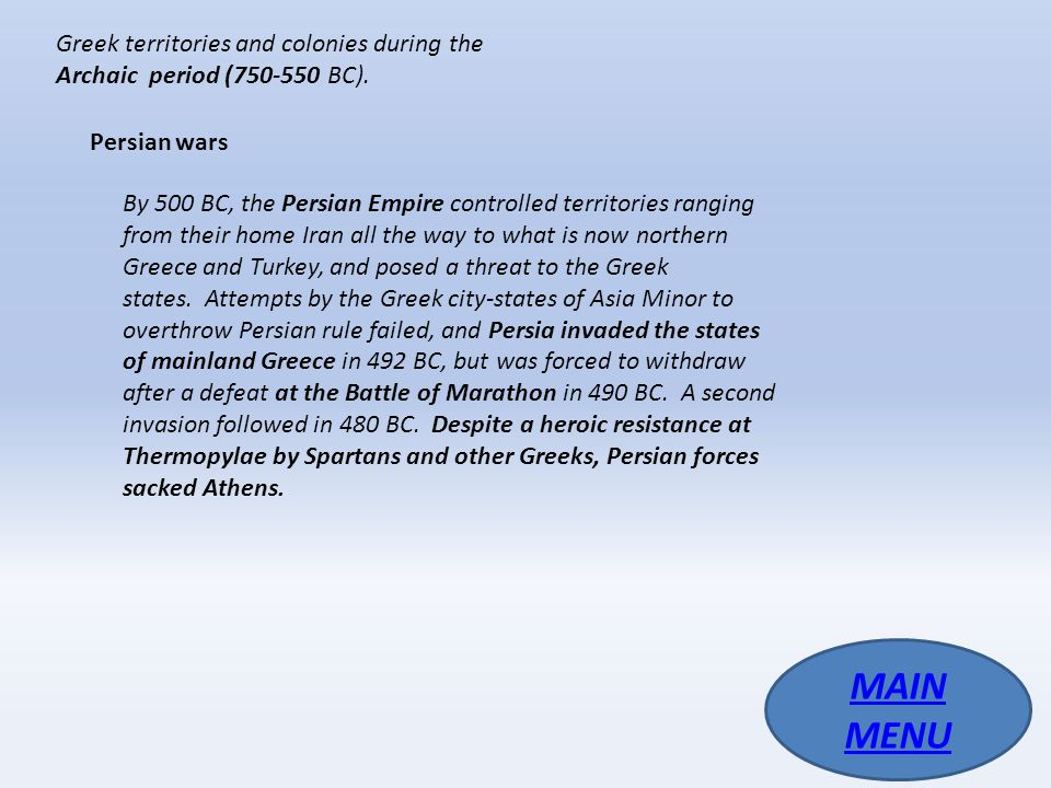 Greek territories and colonies during the Archaic period (750-550 BC).