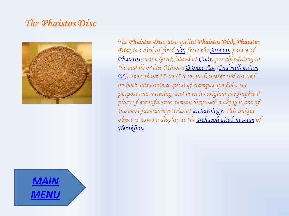 The Phaistos Disc MAIN MENU