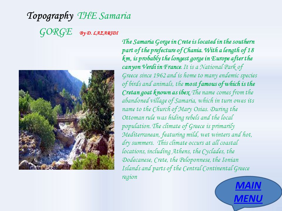 Topography THE Samaria GORGE By D. LAZARIDI