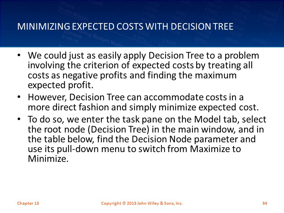 Minimizing Expected Costs with Decision Tree
