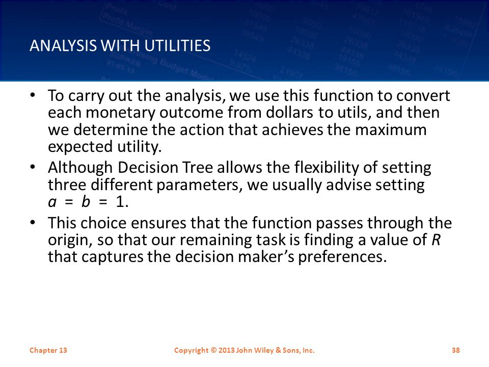 Analysis with Utilities