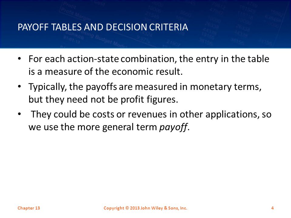 Payoff Tables and Decision Criteria