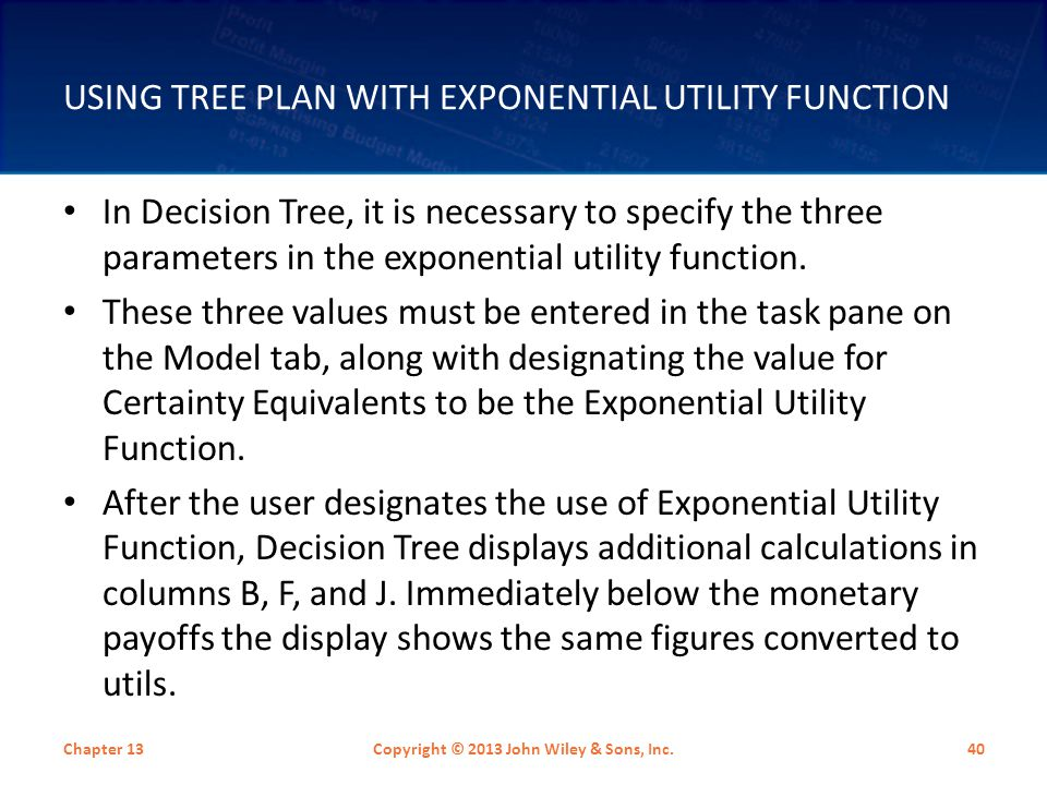 Using Tree Plan with Exponential Utility Function