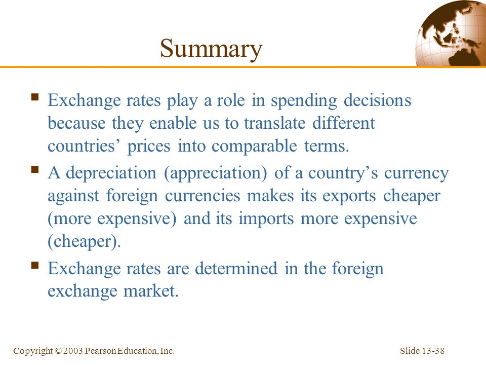 Summary Exchange rates play a role in spending decisions because they enable us to translate different countries' prices into comparable terms.