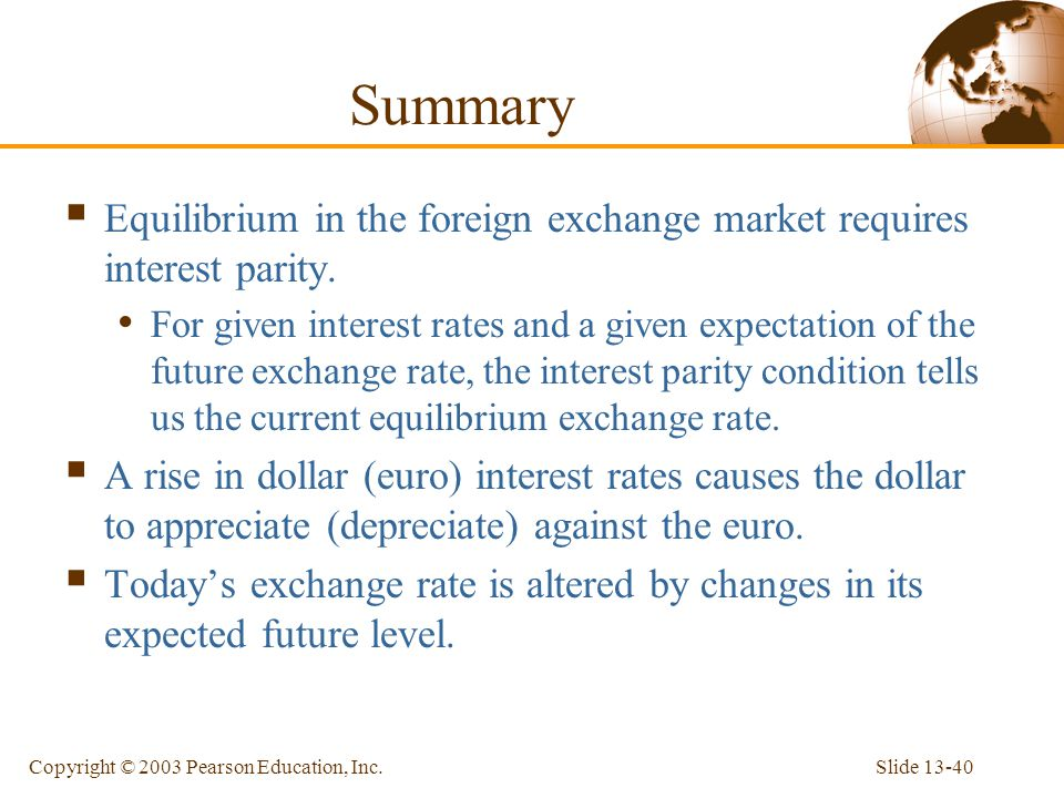 Summary Equilibrium in the foreign exchange market requires interest parity.