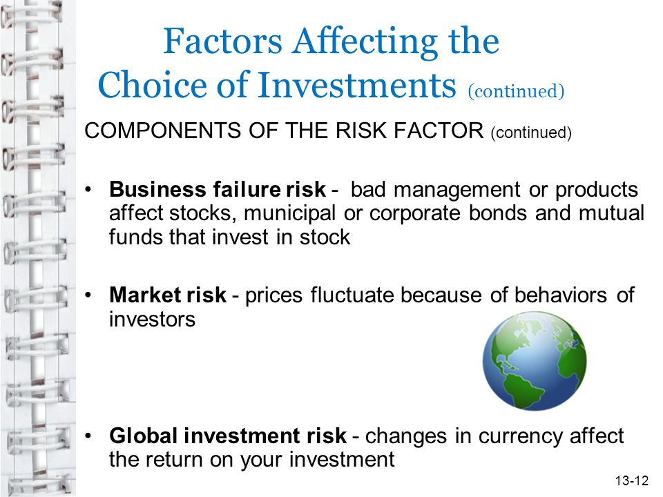 Factors Affecting the Choice of Investments (continued)