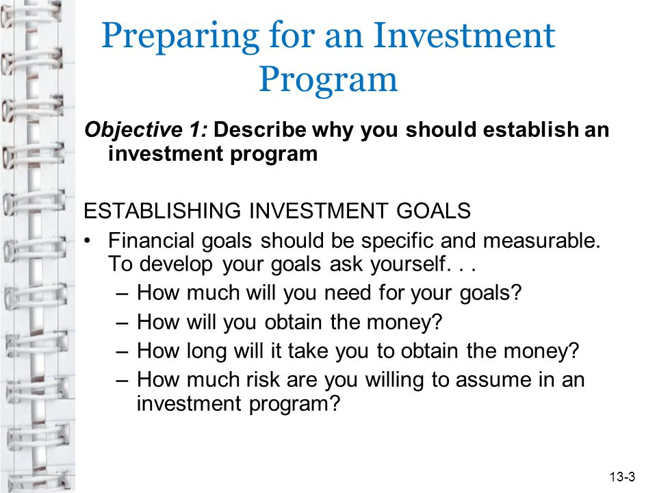 Preparing for an Investment Program