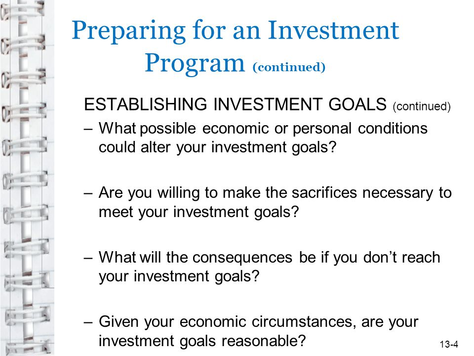 Preparing for an Investment Program (continued)