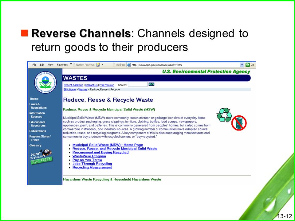 Reverse Channels: Channels designed to return goods to their producers
