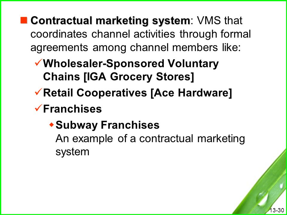 Contractual marketing system: VMS that coordinates channel activities through formal agreements among channel members like: