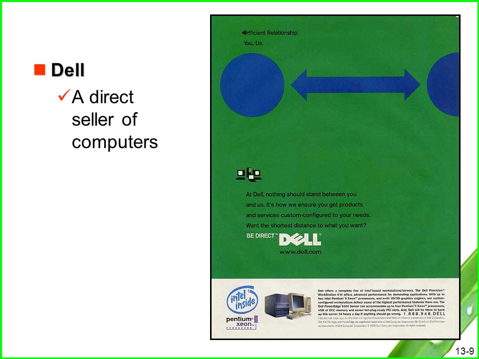 Dell A direct seller of computers