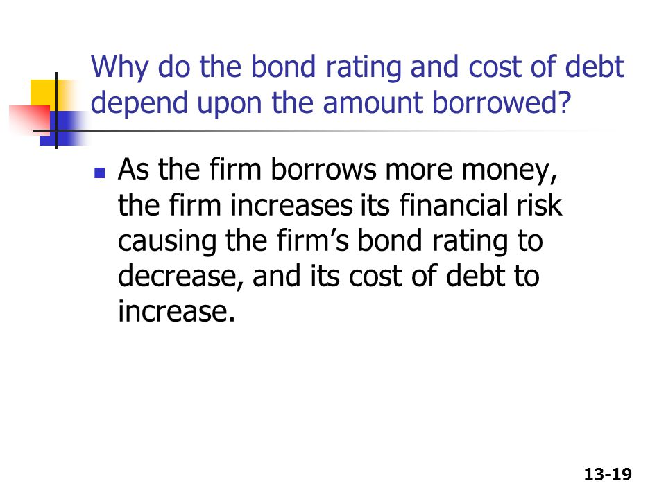 Why do the bond rating and cost of debt depend upon the amount borrowed